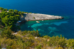Small lagoon and stone spit. Adriatic Sea Royalty Free Stock Photography