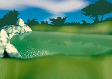 Small lake. Highly detailed cartoon background 53 - illustration Royalty Free Stock Photo