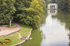 Small lake in background main gate to Sofiyivsky park - Uman, Uk Royalty Free Stock Photography
