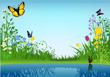 Small Lake and Butterflies Royalty Free Stock Images