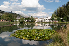 Small lake in crans montana. Small lake with water lilies in a park in Switzerland Royalty Free Stock Photography