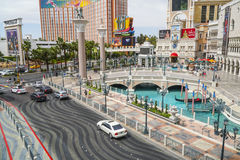 Small lake in front of Venetian Hotel and Casino with Gondola service - LAS VEGAS - NEVADA - APRIL 22, 2017 Royalty Free Stock Photo
