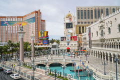 Small lake in front of Venetian Hotel and Casino with Gondola service - LAS VEGAS - NEVADA - APRIL 22, 2017 Stock Image