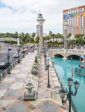 Small lake in front of Venetian Hotel and Casino with Gondola service - LAS VEGAS - NEVADA - APRIL 22, 2017 Royalty Free Stock Photos