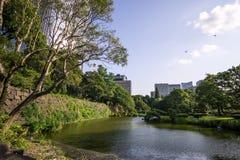 Small lake in hibiya park. Summer scenery along a small lake in hibiya park in tokyo, japan stock images