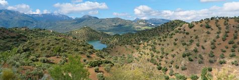 Small lake among Mediterranean mountains Stock Images
