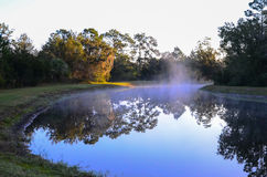 Small lake and morning fog Stock Photos