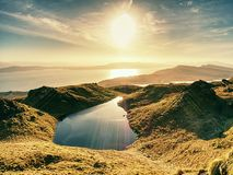 Small lake on the mountains and of Scottish Highlands. Scenic Landscape View Royalty Free Stock Photo