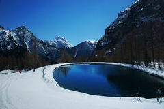 Small lake in mountains Stock Images