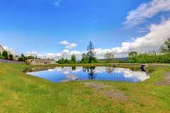 Small lake near American houses. Royalty Free Stock Images