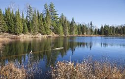 Small lake in northern Minnesota with beautiful blue water and p stock photos