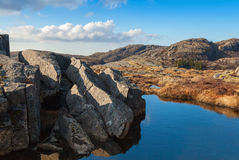 Small lake in Norwegian mountains Royalty Free Stock Images