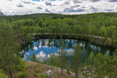 Small lake not far from the park Ruskeala. Mining Park Ruskeala - tourist complex, located in the Republic of Karelia Sortavala region near the village Ruskeala Stock Photo