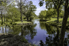 A small lake in the park with some reflextion of blue sky. park Royalty Free Stock Image