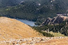 A small lake near Pikes Peak. A small lake a rock formation in the Rocky Mountains of Colorado royalty free stock photo