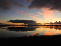 Small lake in evening sunset colors, Lithuania stock photography