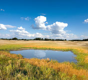 Small lake in steppe Stock Photos