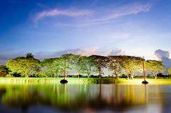 A small lake in summer at sunset. A small lake trees and clouds in summer at sunset Stock Image