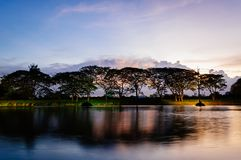 Small lake and trees in the evening at golden hour. With dark clouds Royalty Free Stock Photo