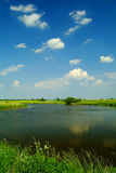 Small lake under a blue sky Stock Images