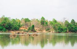 A small lake in the Vietnam Lake District surrounded by woodland Royalty Free Stock Photography