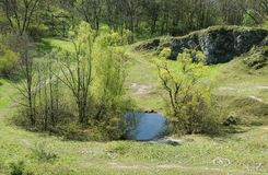 Small lakes in the abandoned quarry Royalty Free Stock Photos