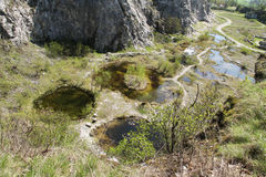 Small lakes in the abandoned quarry Royalty Free Stock Photography