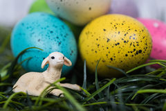 Small lamb next to large decoarted Easter Eggs Royalty Free Stock Images