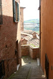 Small Lane in Urbino historical centre on the hill Royalty Free Stock Photos