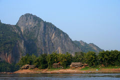 Small lao village. On the banks of Mekong river Stock Photography