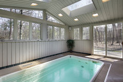 Small lap pool with skylights Royalty Free Stock Photo