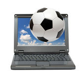 Small laptop with soccer football ball Royalty Free Stock Images
