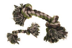 Small and large camouflage dog toy rope bone seen from above Stock Image
