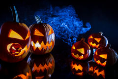 Small and large pumpkins for Halloween royalty free stock photography