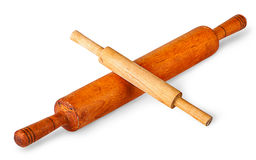 Small and large rolling pin crosswise Stock Photo