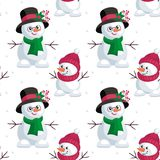 Small and large snowmen. Christmas seamless pattern with the image of snowmen in cartoon style. Vector colorful background Royalty Free Stock Photos