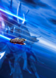 Small and large spaceship in space Royalty Free Stock Images
