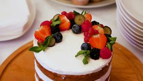 Small layer cake. With different fruits stock video