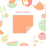 Small Leaf for Menu Notes. Surrounded with Frame from Kitchen Utensils and Some Food. Vector Illustration Made in Light Pastel Colors Royalty Free Stock Images