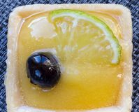 Small lemon cake. With blueberry on the top. Macro photography Royalty Free Stock Photos