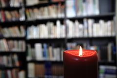 Small library with candle Stock Image