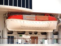 Small Lifeboat on a Big Ship Stock Photography