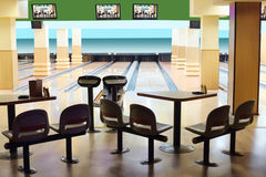 Small light bowling with hanging displays Stock Photography
