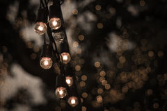 Small light bulb with bokeh background Royalty Free Stock Photo