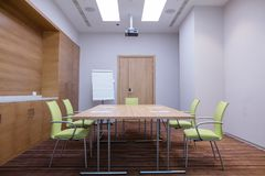 Light well-equipped stydy hall with flipchart and video projector. Small light well-equipped stydy hall with flipchart and video projector Royalty Free Stock Photos