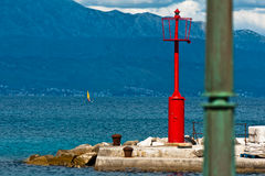 Small lighthouse. Small red lighthouse on sea shore of Sutivan on island Brac in Croatia Royalty Free Stock Photos