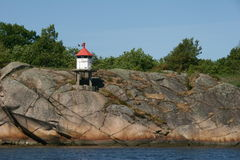 Small lighthouse. On a little cliff near a river Royalty Free Stock Photos