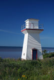 Small lighthouse and blue sky. A view of a small, white wooden light house on the shore of the Atlantic ocean against a brilliant, deep blue sky at Summerside Royalty Free Stock Photography