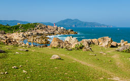 Small lighthouse on cliff, Xuan Dai Bay Entry port, Phu Yen Stock Image