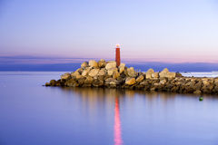 Small Lighthouse In The Night Royalty Free Stock Photo